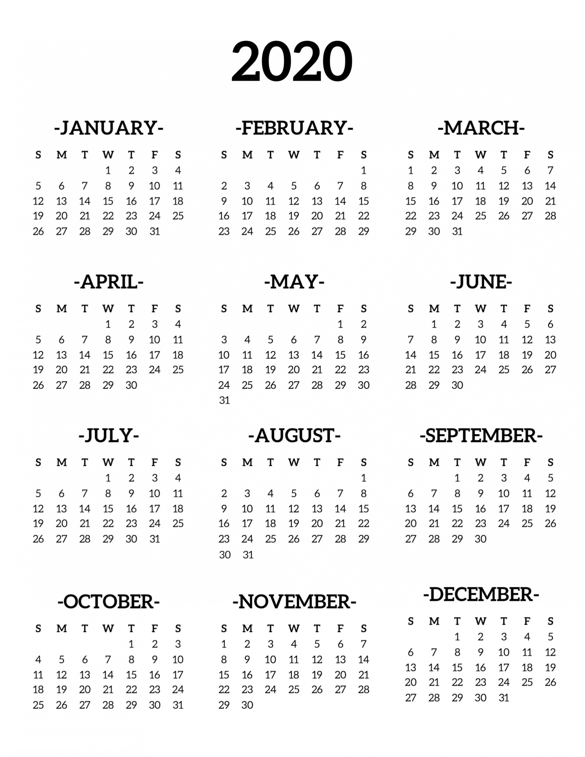 1 page monthly calendar 2020 | monthly calendar blank 2020