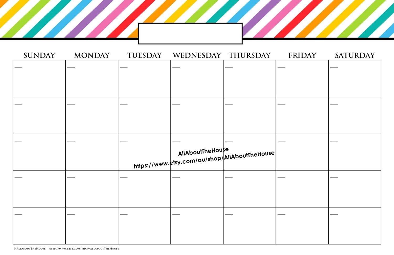 11×17 Calendar Template Word