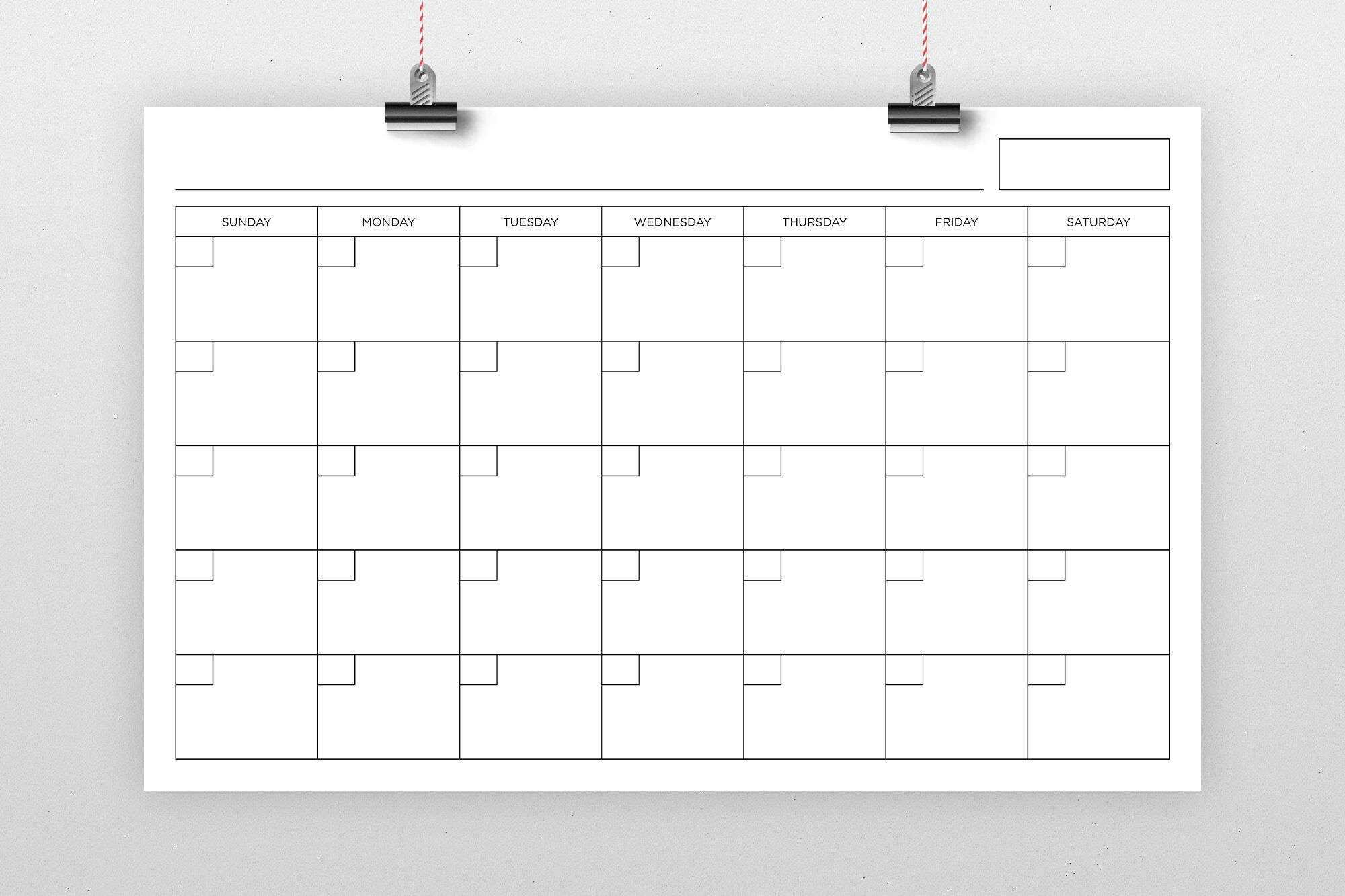 11×17 Inch Blank Calendar Page Templaterunning With