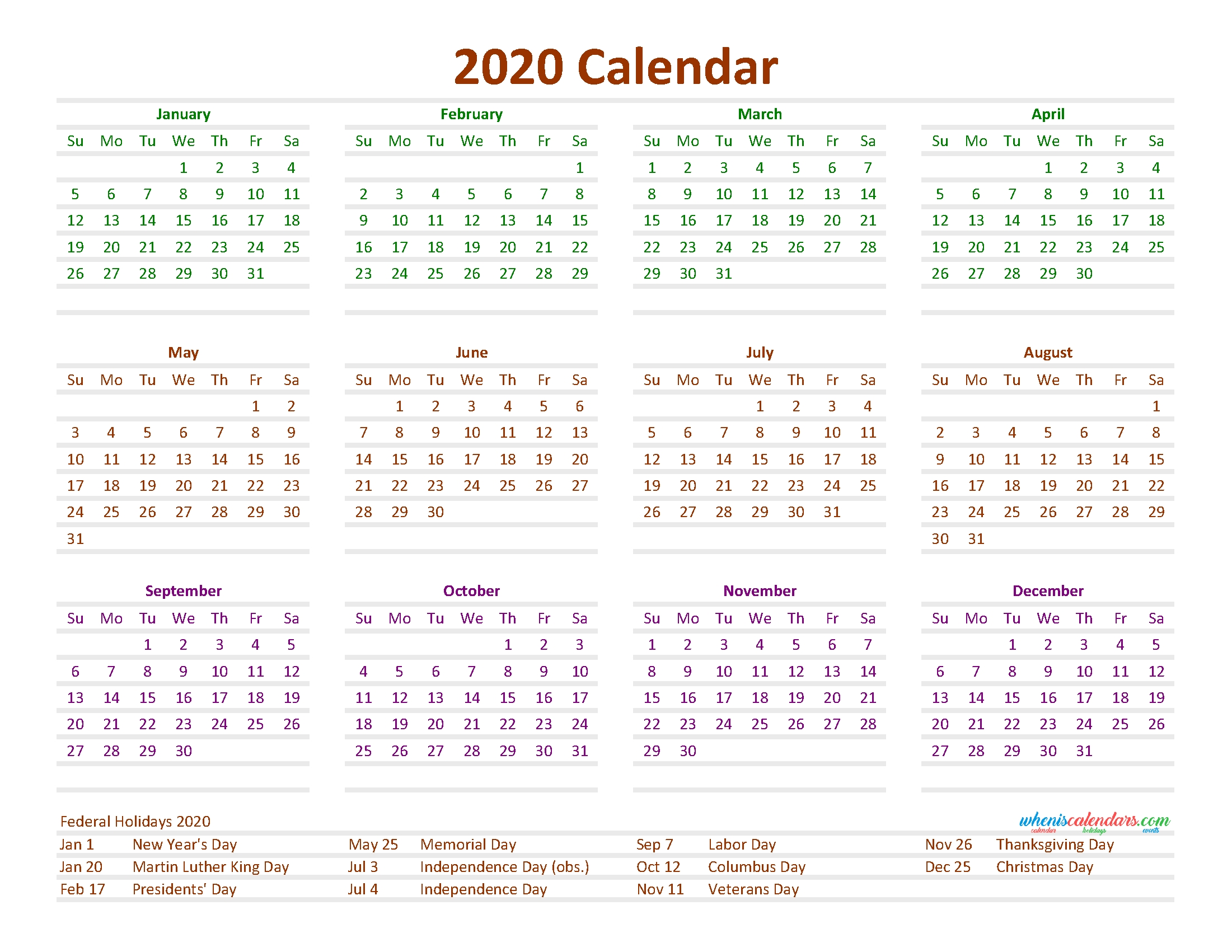 12 month calendar on one page 2020 printable pdf, excel