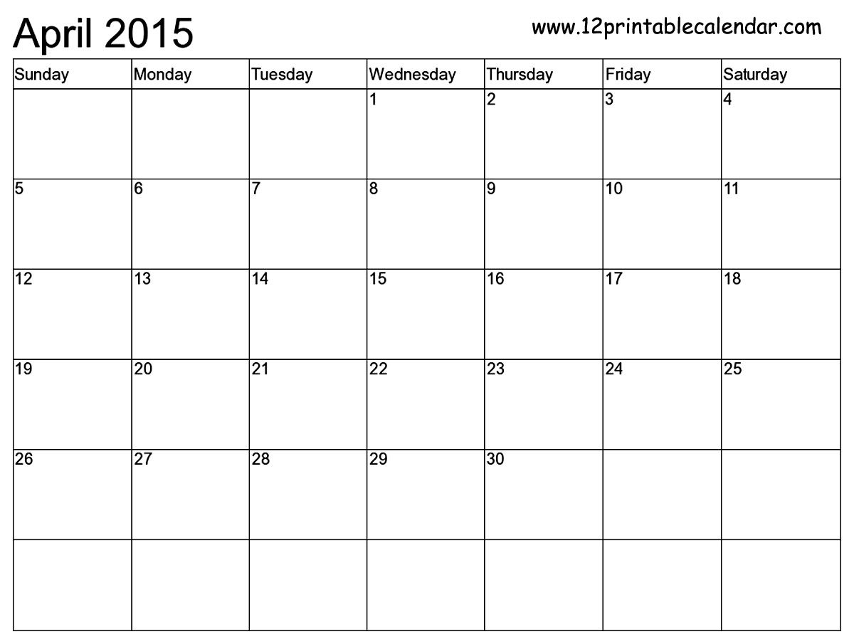 13 printable 2015 monthly calendar template images free
