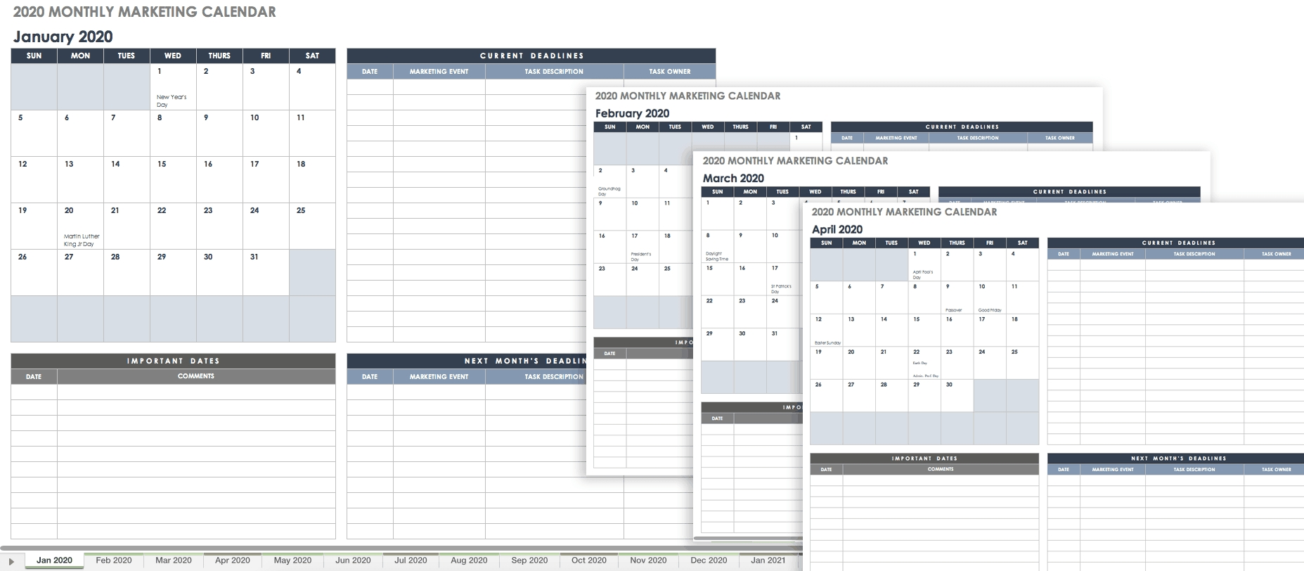 15 Free Marketing Calendar Templates | Smartsheet
