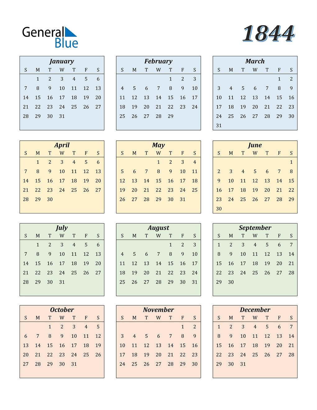 1844 Calendar (pdf, Word, Excel)