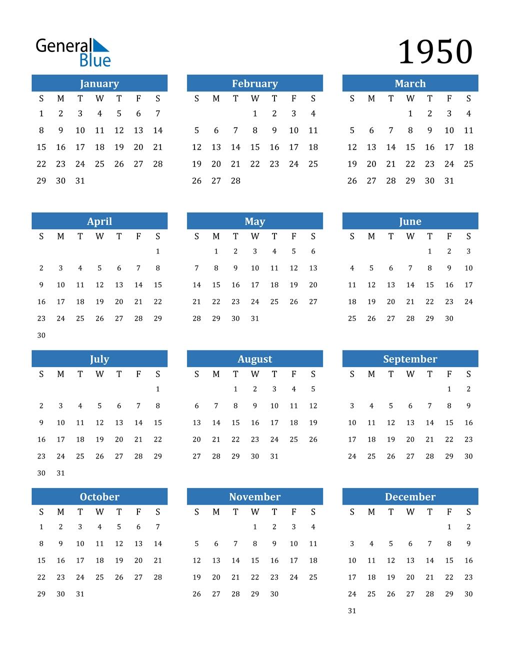 1950 Calendar (pdf, Word, Excel)