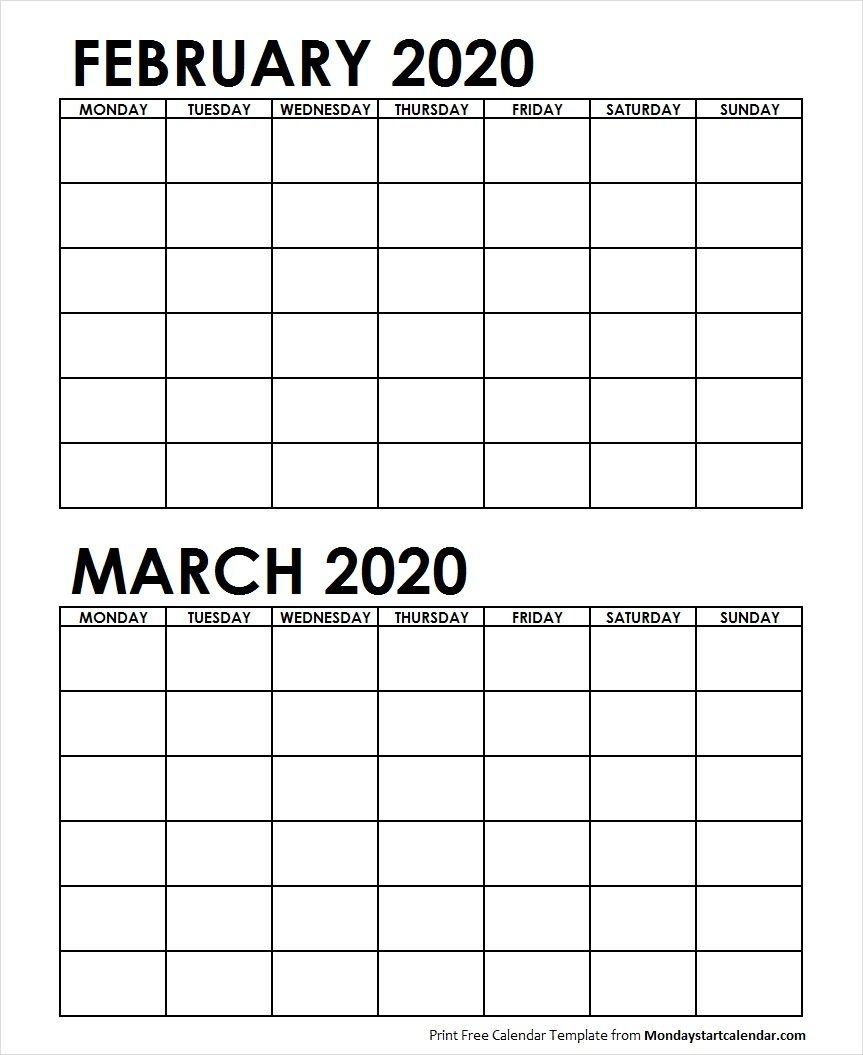 2 Monthly Blank Calendar February March 2020 Archives