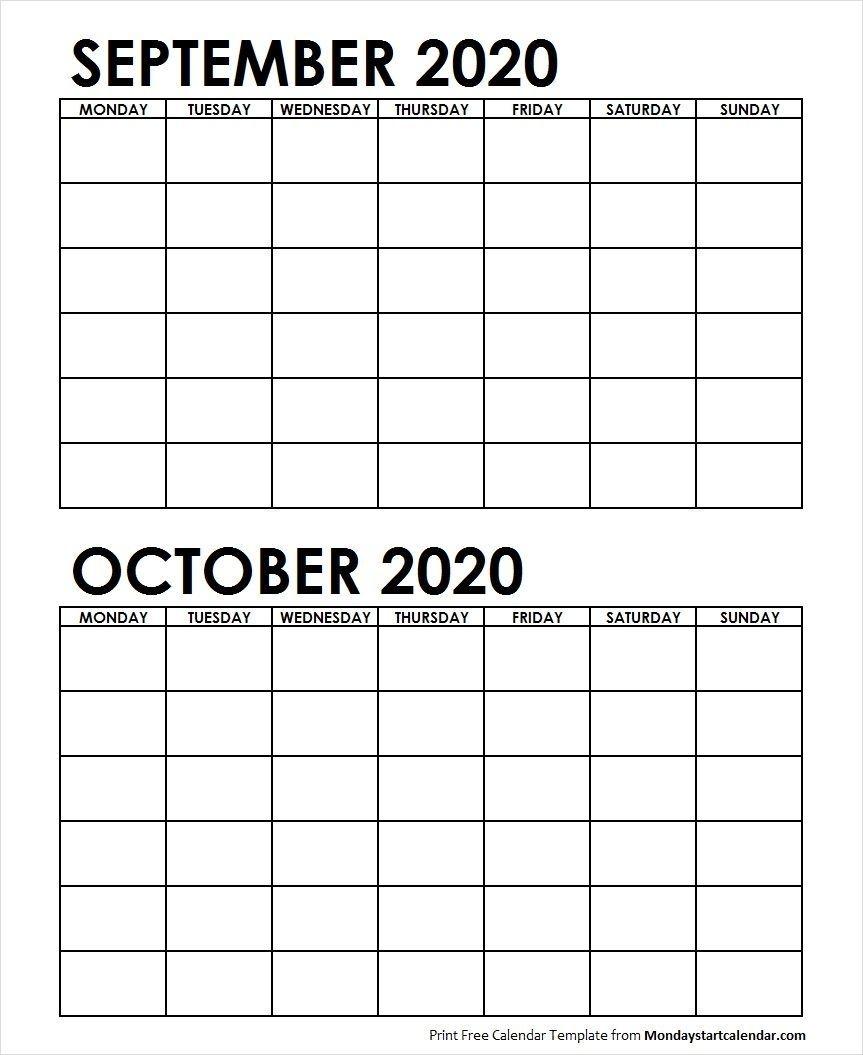 2 Monthly Blank Calendar September October 2020 In 2020