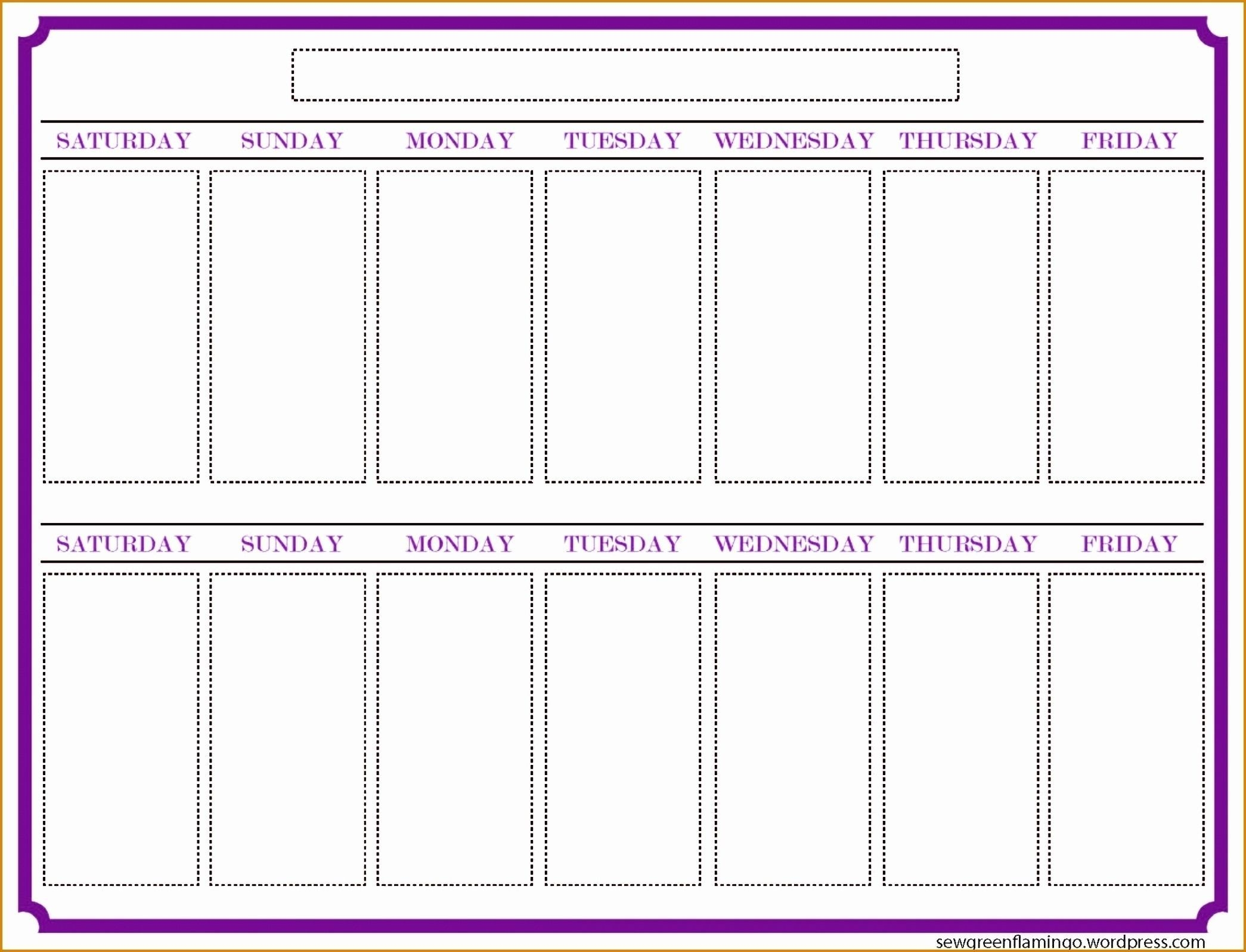 2 Week Blank Calendar Printable – Template Calendar Design