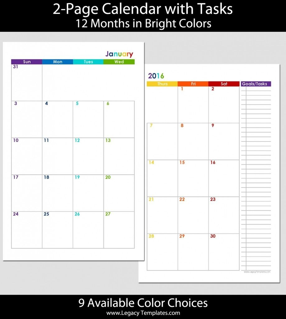 2015 12 month 2 page calendar half size | legacy templates