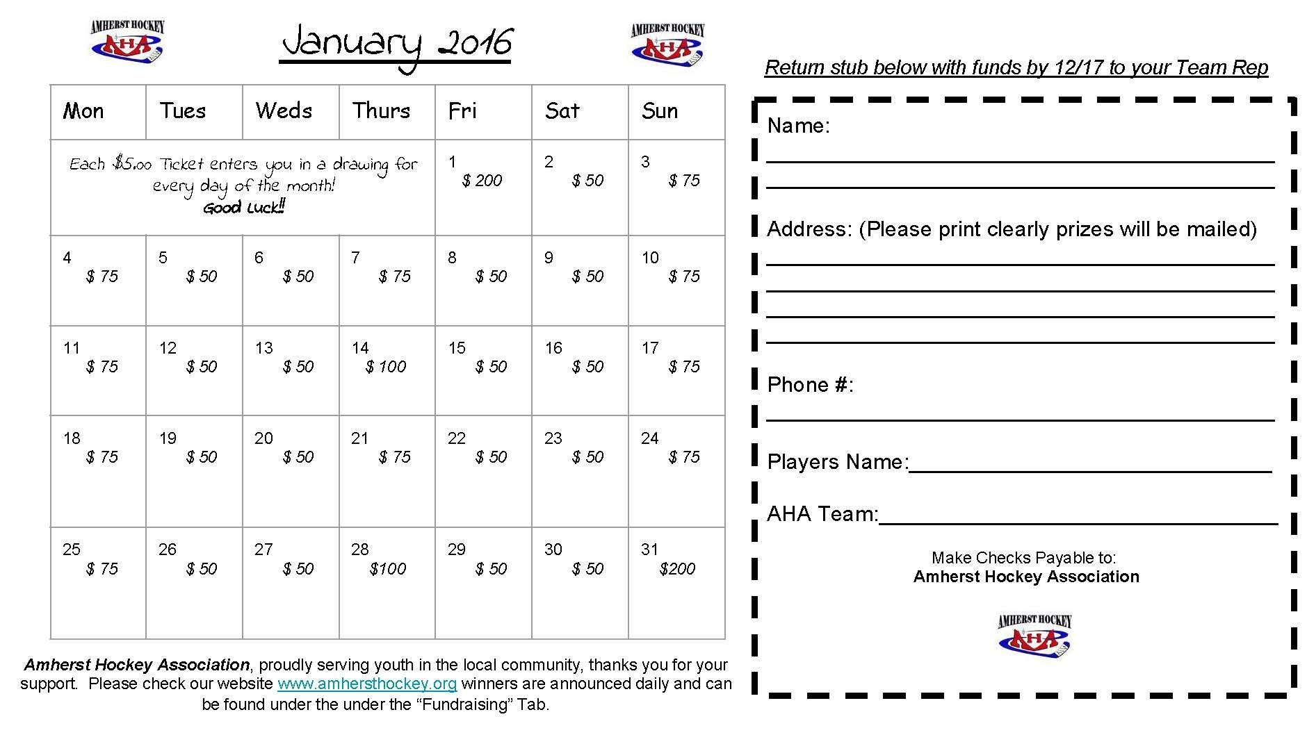 2015 2016 Calendar Raffle | Amherst Hockey Association
