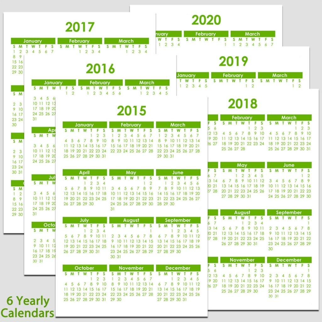"2015 & 2020 Yearly Calendar 5 1/2"" X 8 1/2"" 