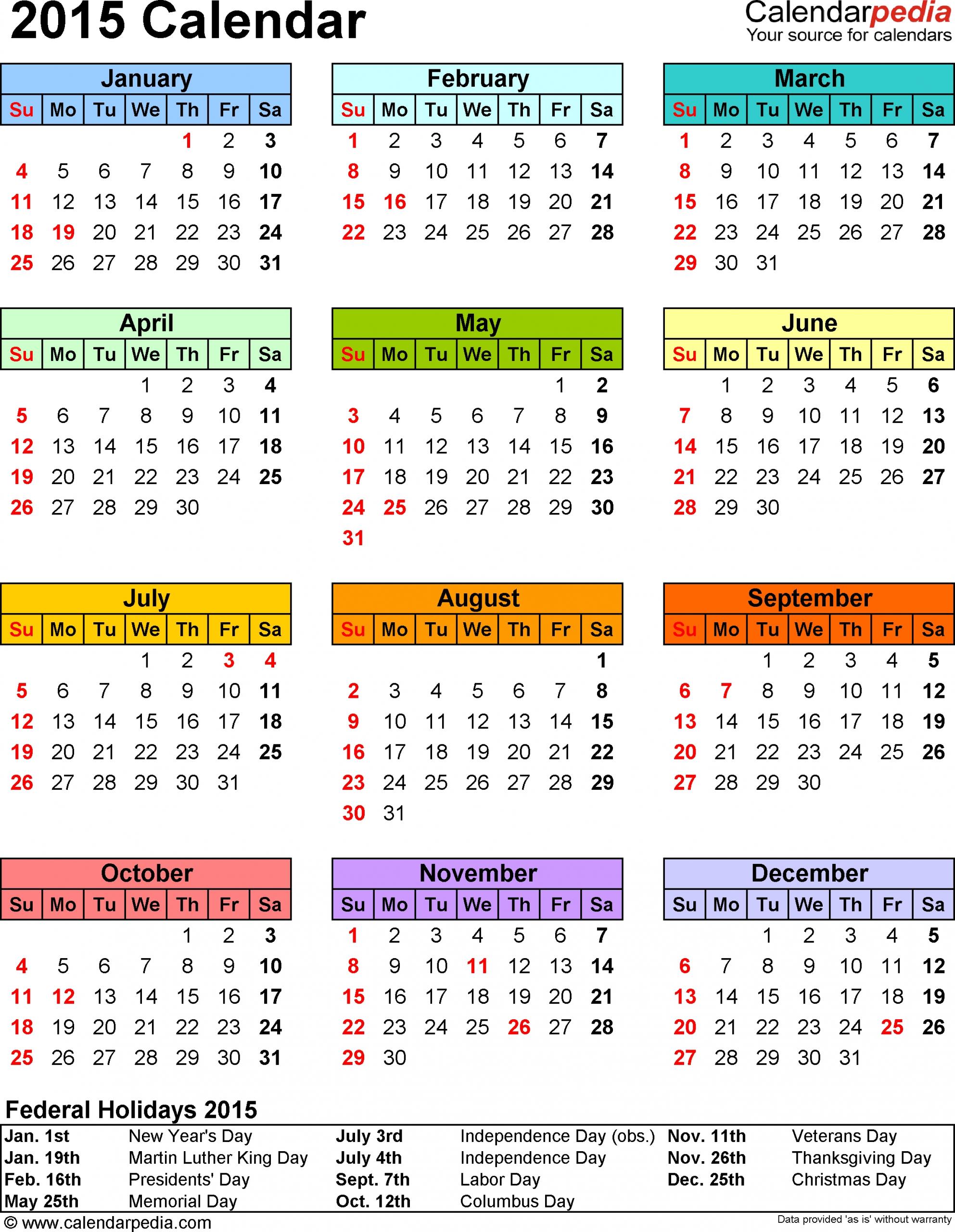 2015 Calendar 13 Free Printable Word Calendar Templates