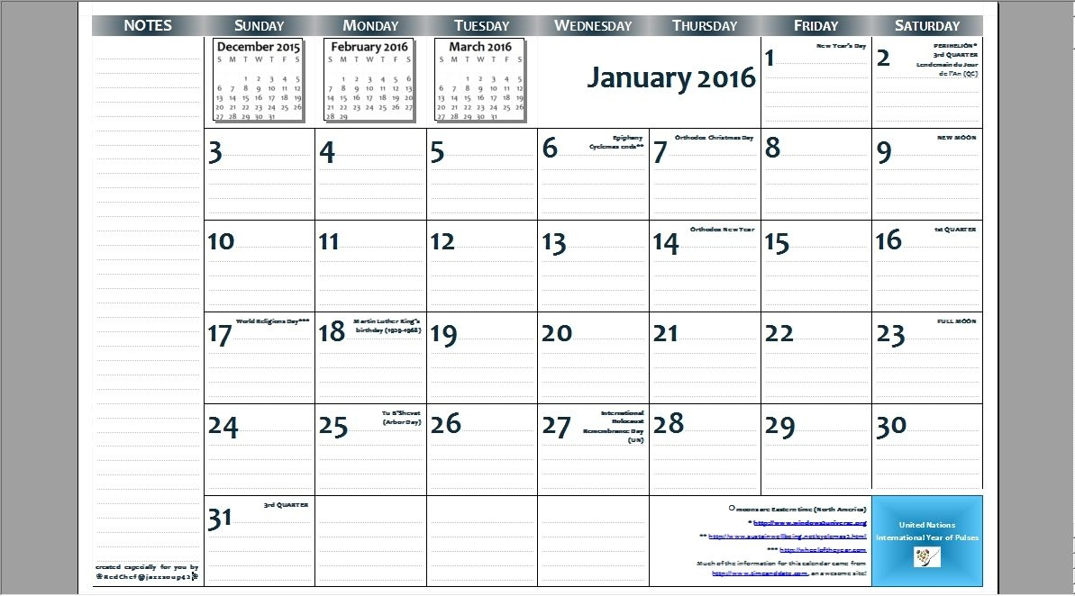 2016 11×17 Free Printable Page Per Month Wall Calendar With