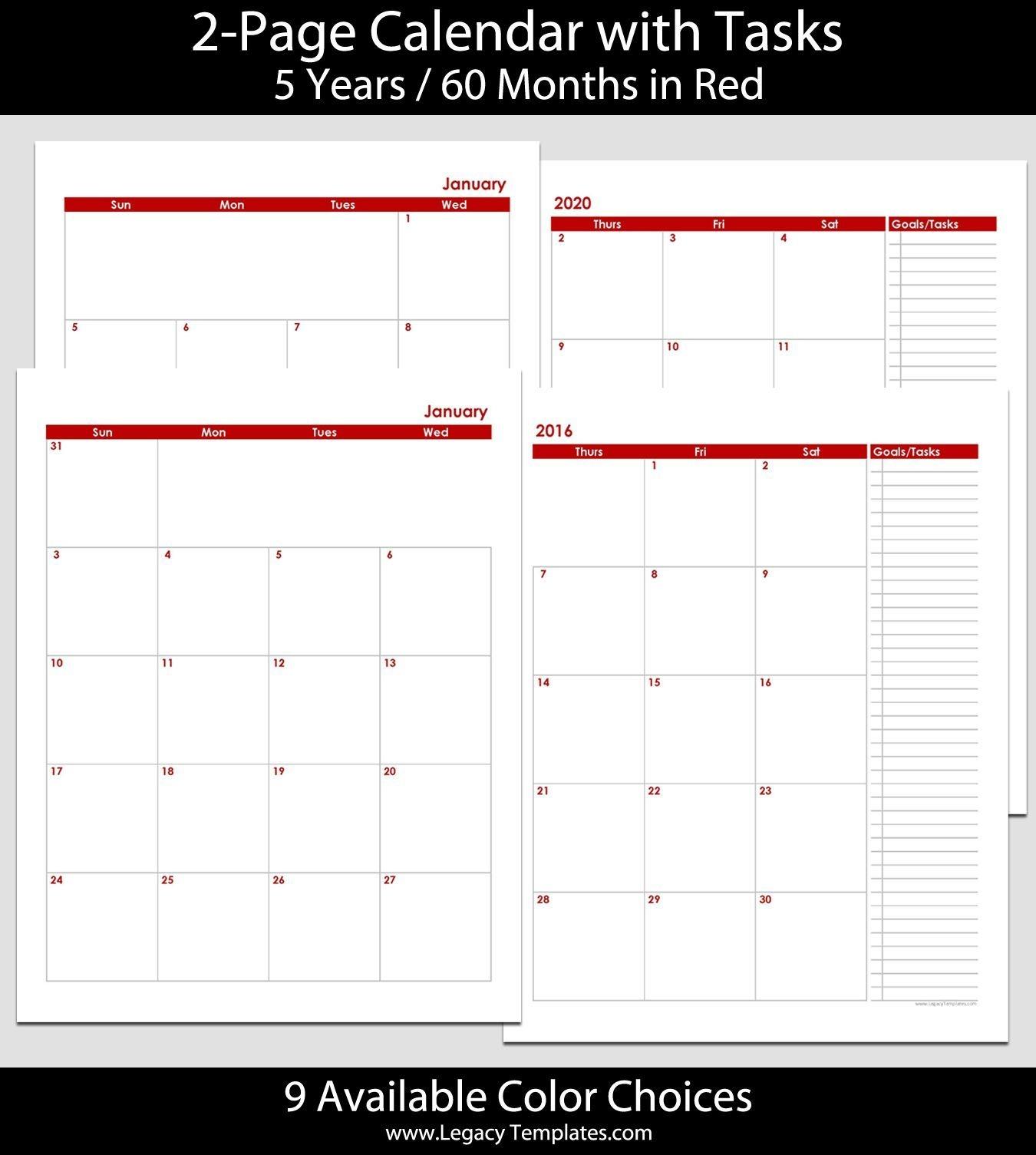 2016 Thru 2020 60 Month 2 Page Calendar – 8 1/2″ X 11