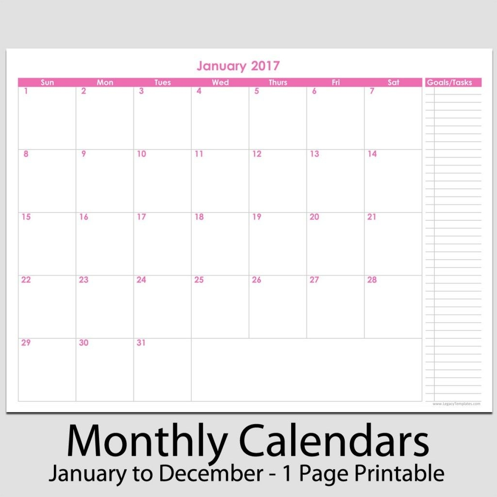 """2017 12 Month Calendar With Tasks 8 1/2"""" X 11"""" 