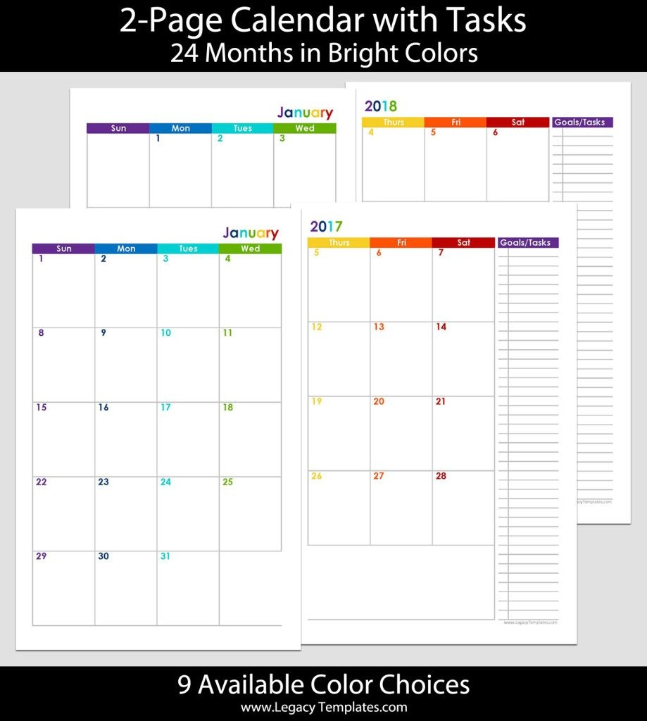 2017 & 2018 24 months 2 page calendar – 5 5 x 8 5 | legacy