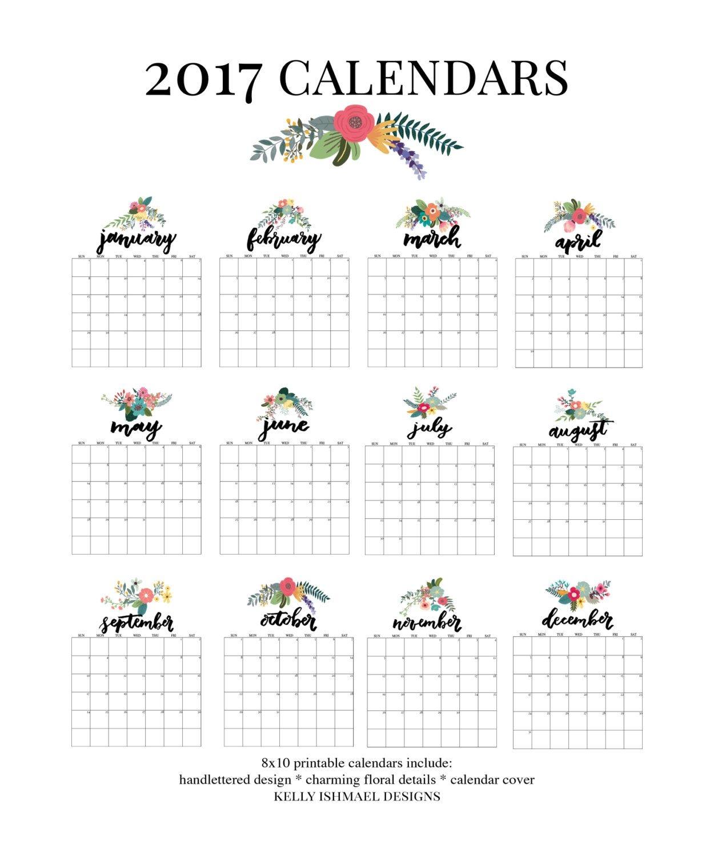 2017 calendar / printable calendar / 8x10 calendar / wall calendar / floral calendar / handlettering / printable