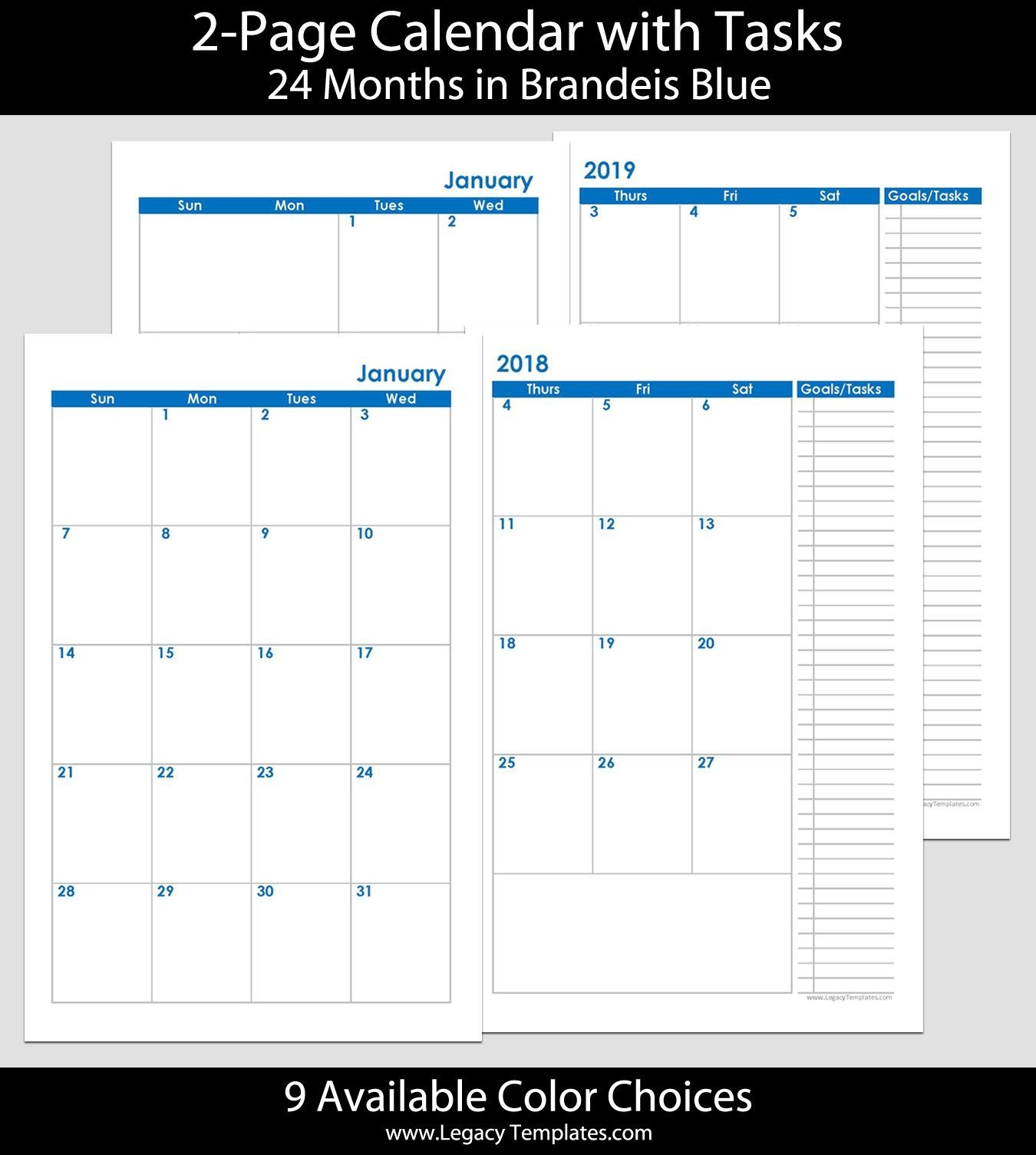 2018 & 2019 24 months 2 page calendar printable 2 page