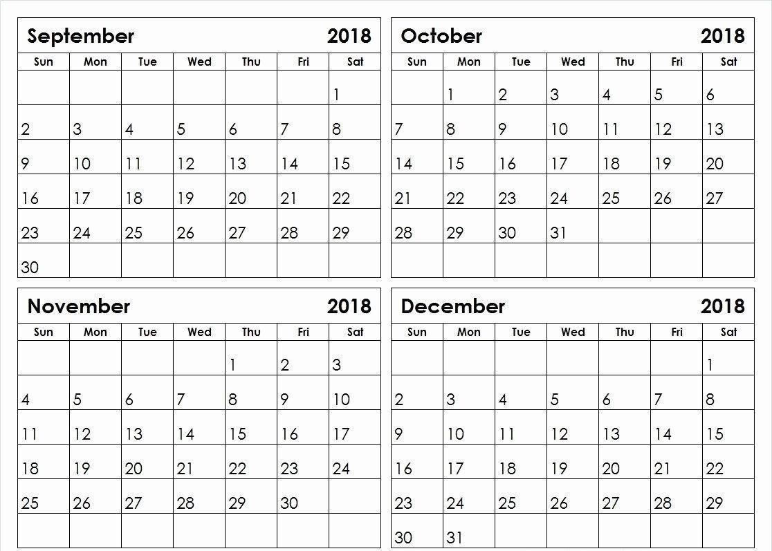 2018 4 Month Calendar Printable | Calendar Printables