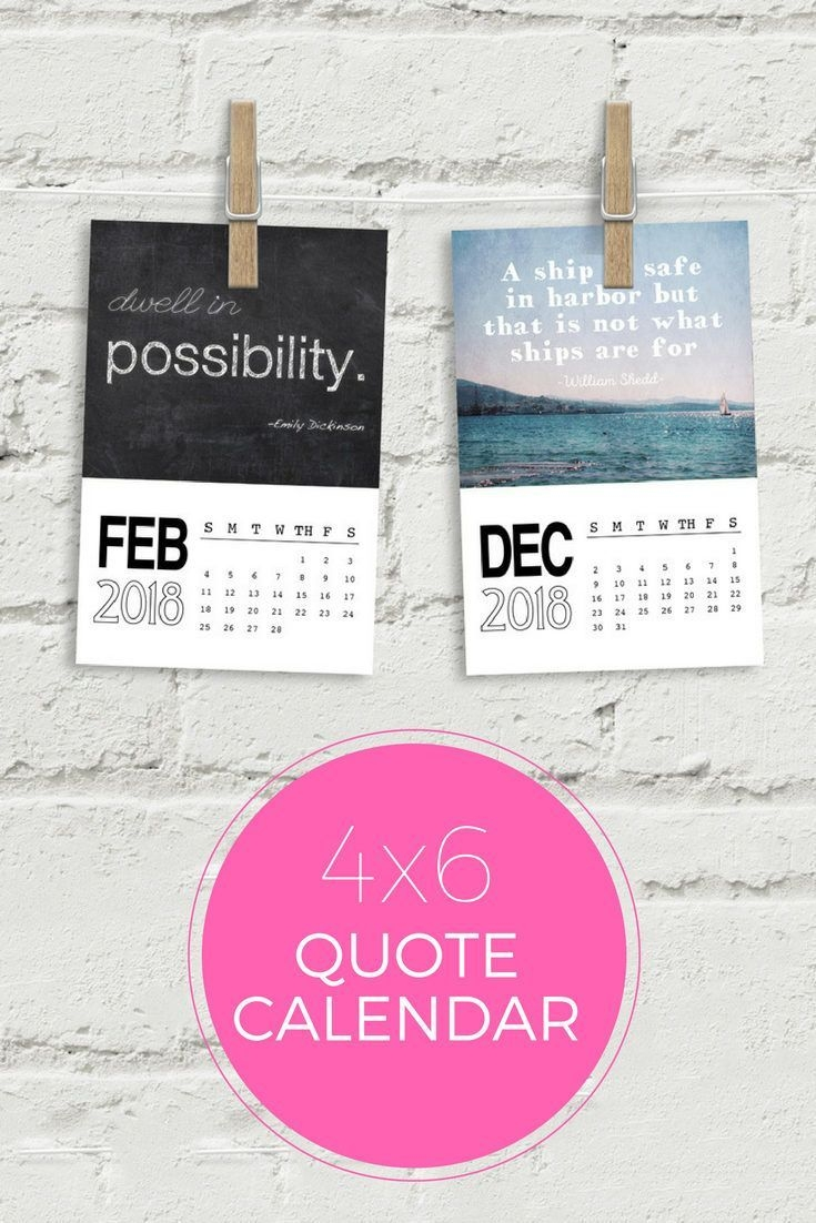 2018 quote calendar, size 4x6 each month is a inspirational