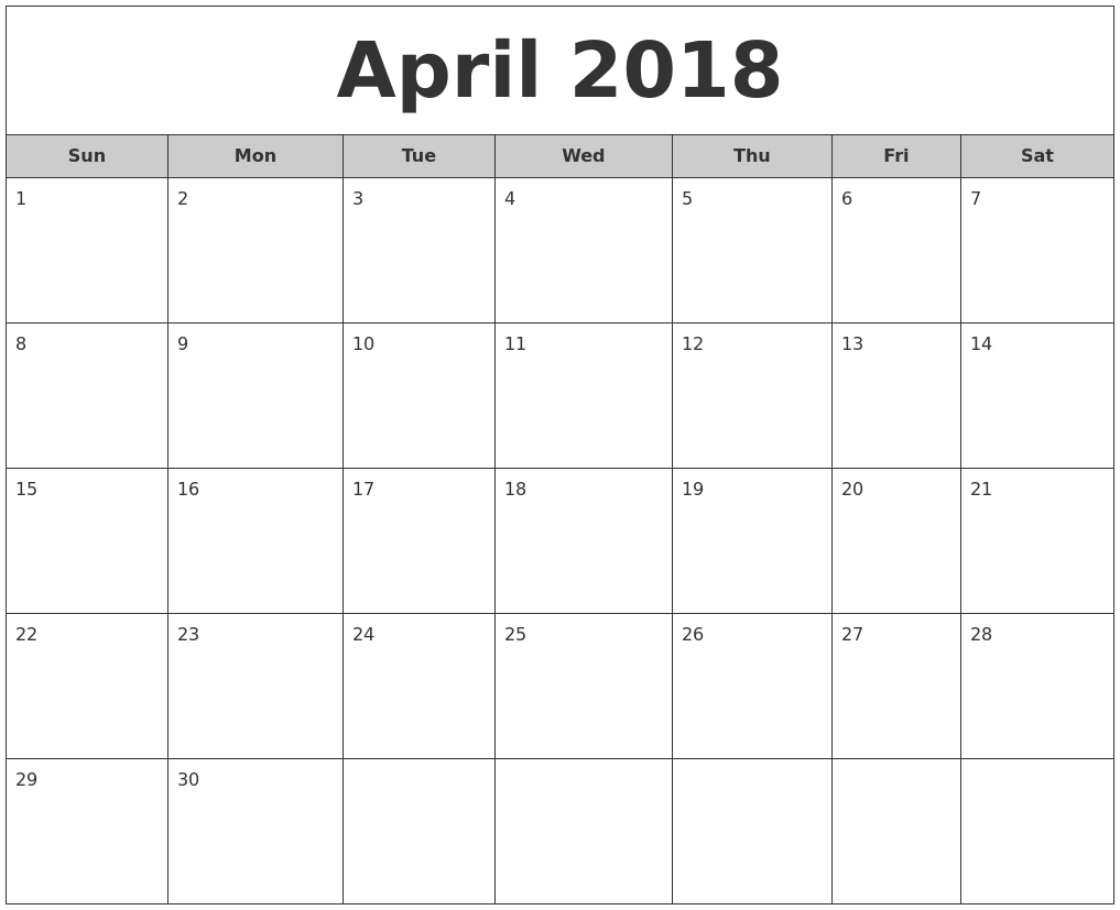 2018 September Calendar Template Excel — April Printable