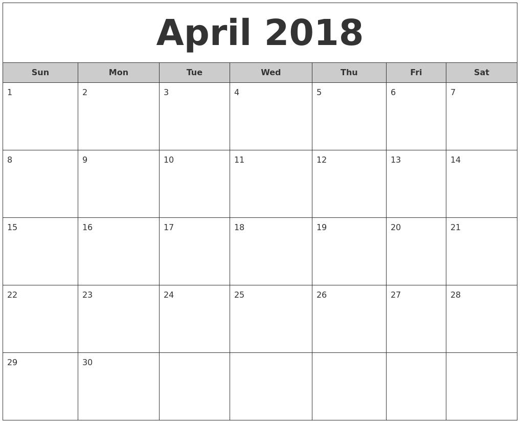 2018 september calendar template excel — april printable