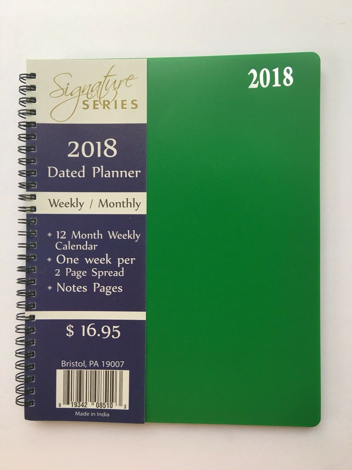 2018 Weekly Monthly Dated Planner Calendar Agenda Appointment Spiral 8x10 Green