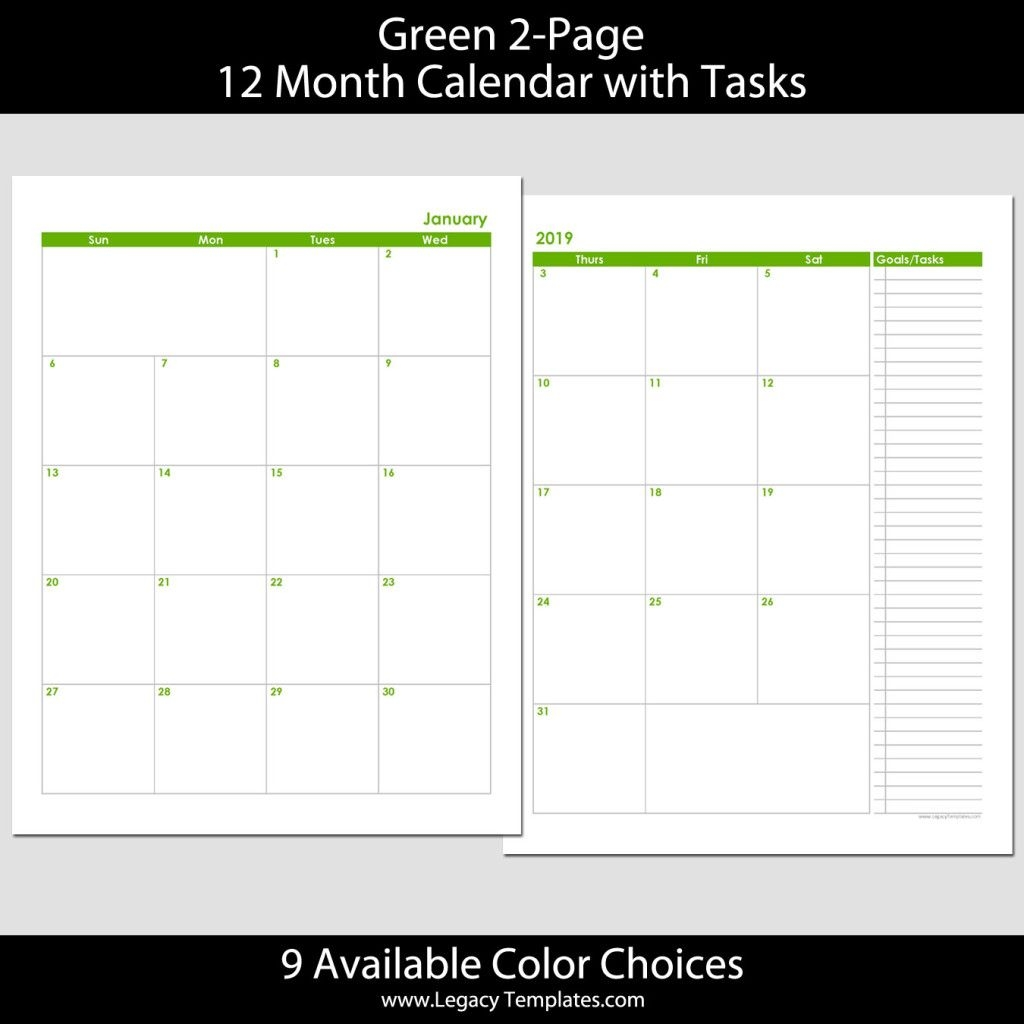 2019 12 month 2 page calendar – 8 5 x 11 | legacy templates