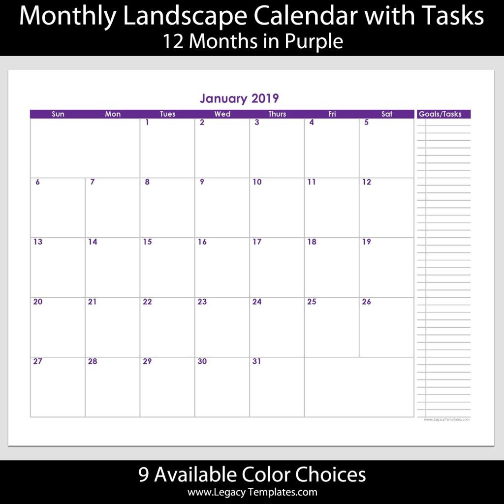 """2019 12 Month Calendar With Tasks 8 1/2"""" X 11"""" 