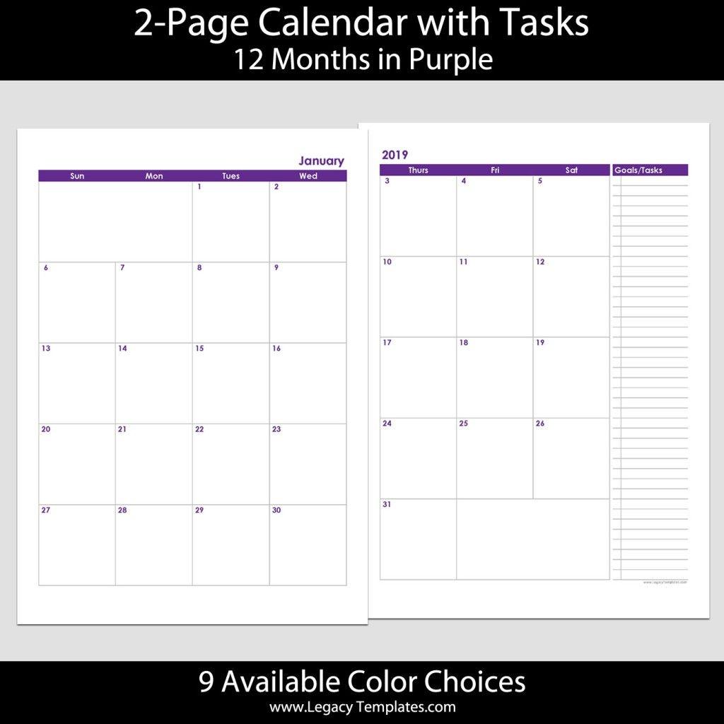 2019 12 Months 2 Page Calendar – A4 | Legacy Templates