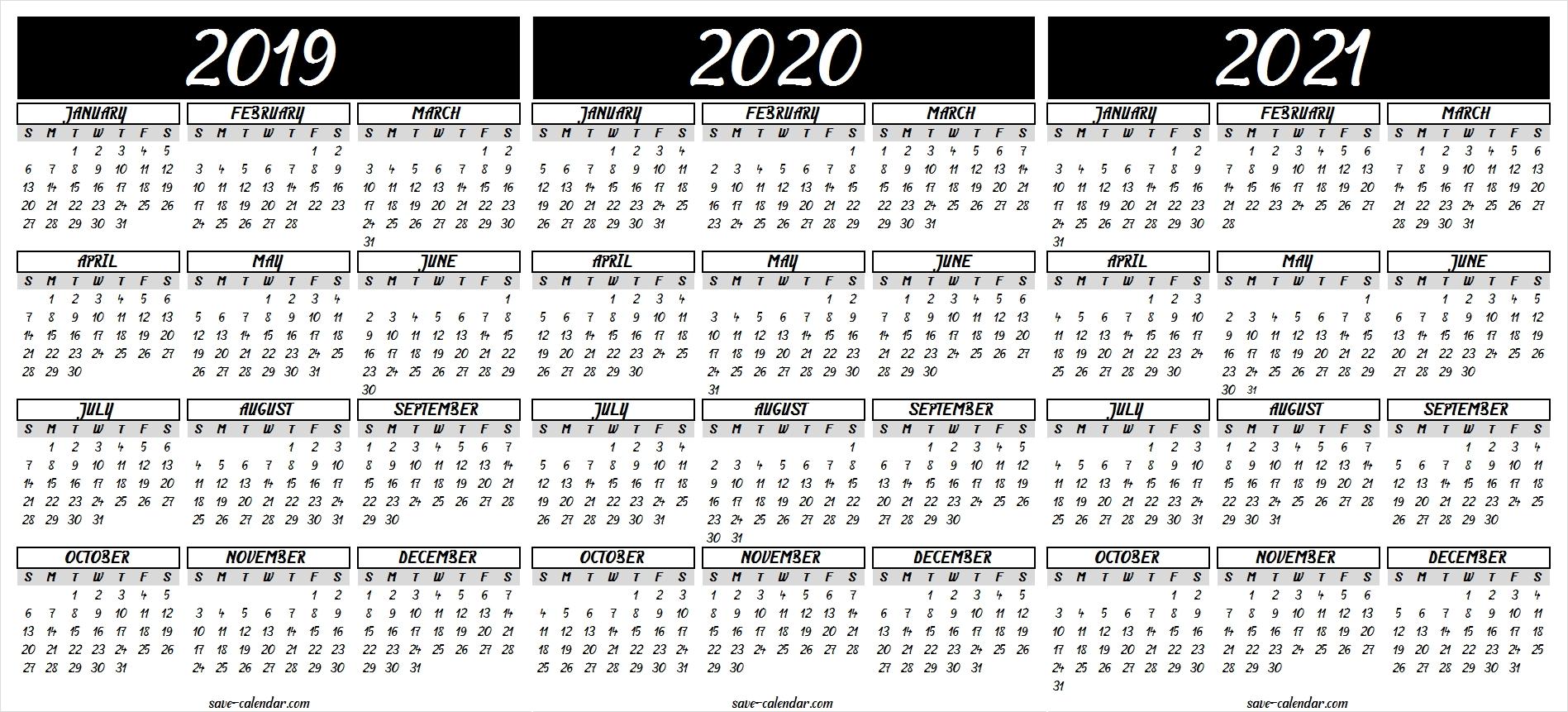 2019 2020 2021 calendar printable | 2021 calendar, calendar