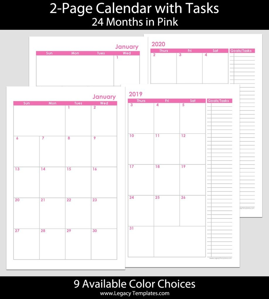 2019 & 2020 24 months 2 page calendar – 5 5 x 8 5 | legacy