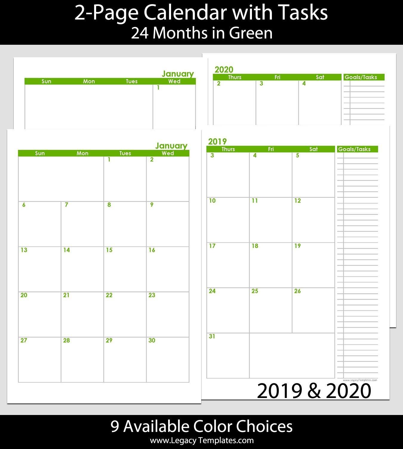 2019 & 2020 24 Months 2 Page Calendar – A5 | Legacy Templates
