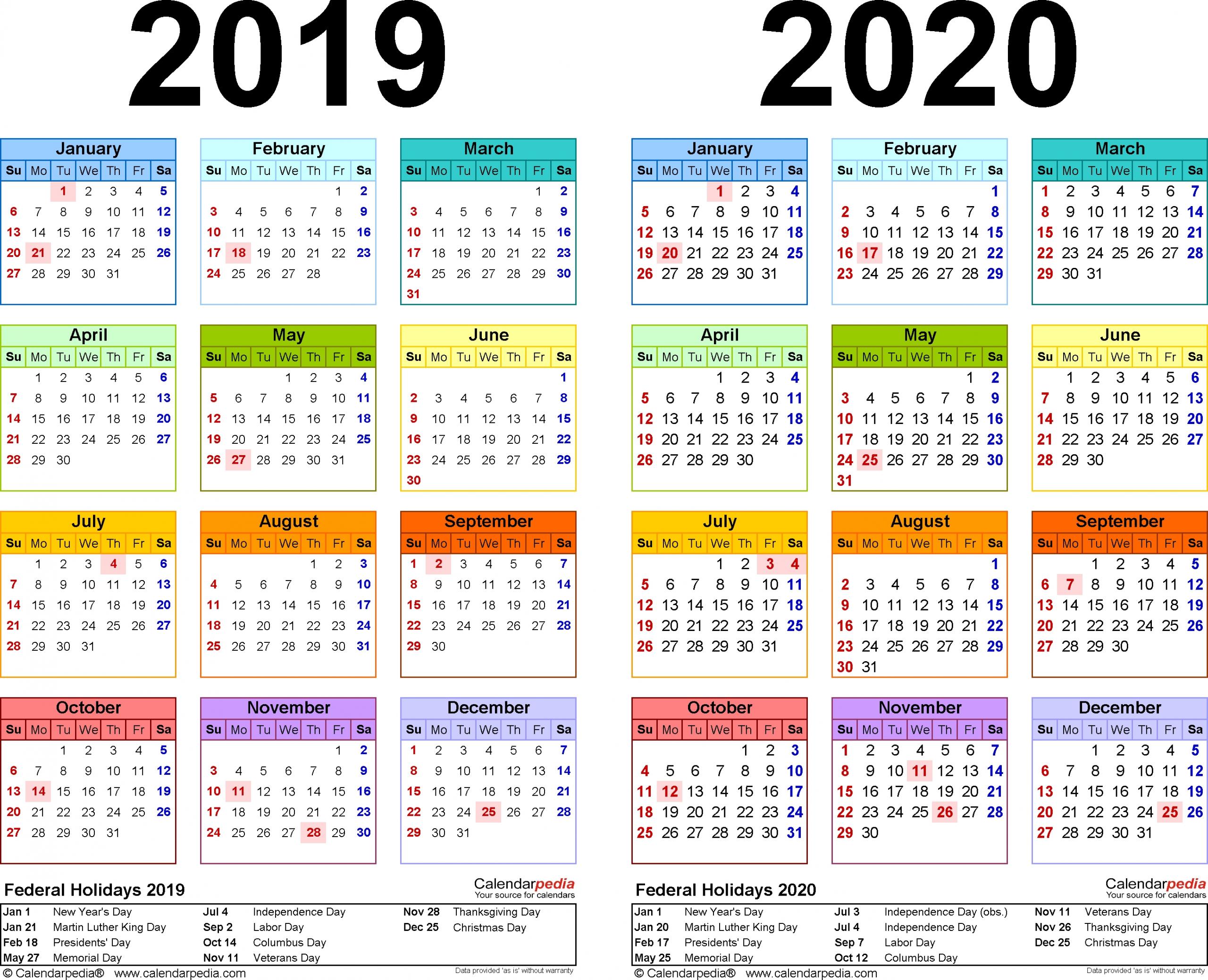 2019 2020 Two Year Calendar Free Printable Pdf Templates