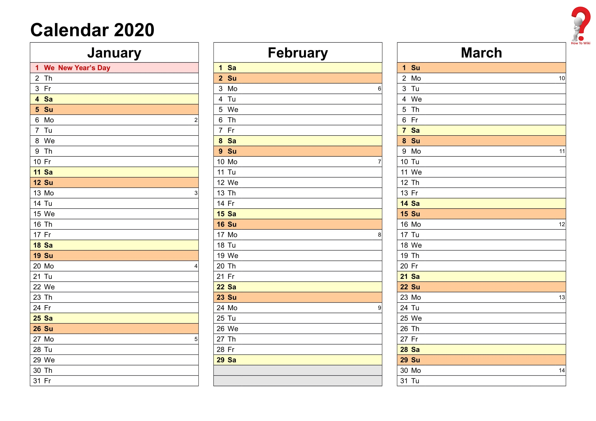 2019 and 2020 yearly planner in excel | event calendar
