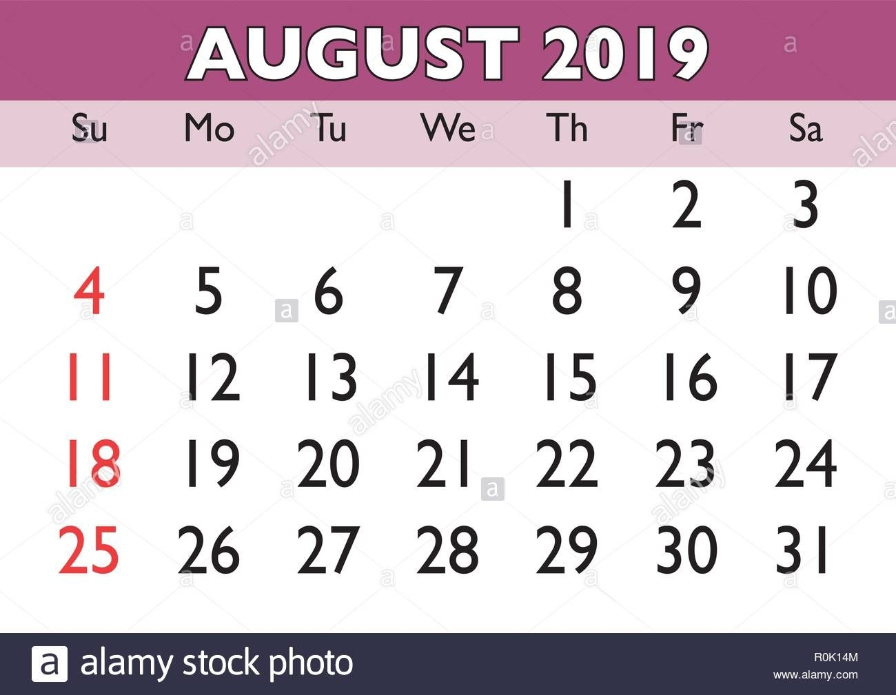 2019 Calendar August Month Vector Printable Calendar