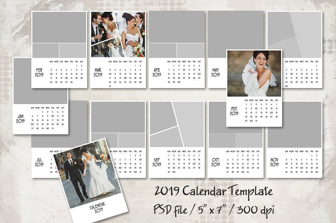 "2019 Calendar Template 5""x7"" #months#cover#pdf#files"