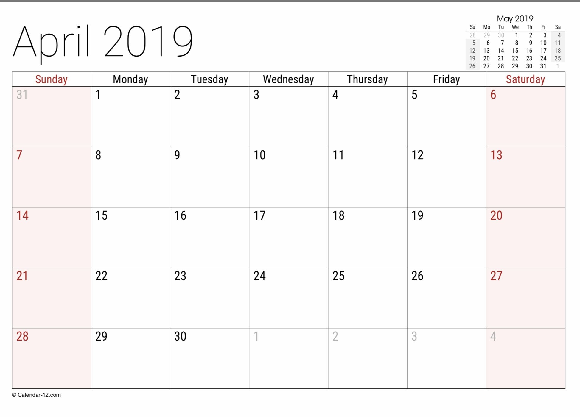 2019 Free Printable Calendar Templates A Mother's Random