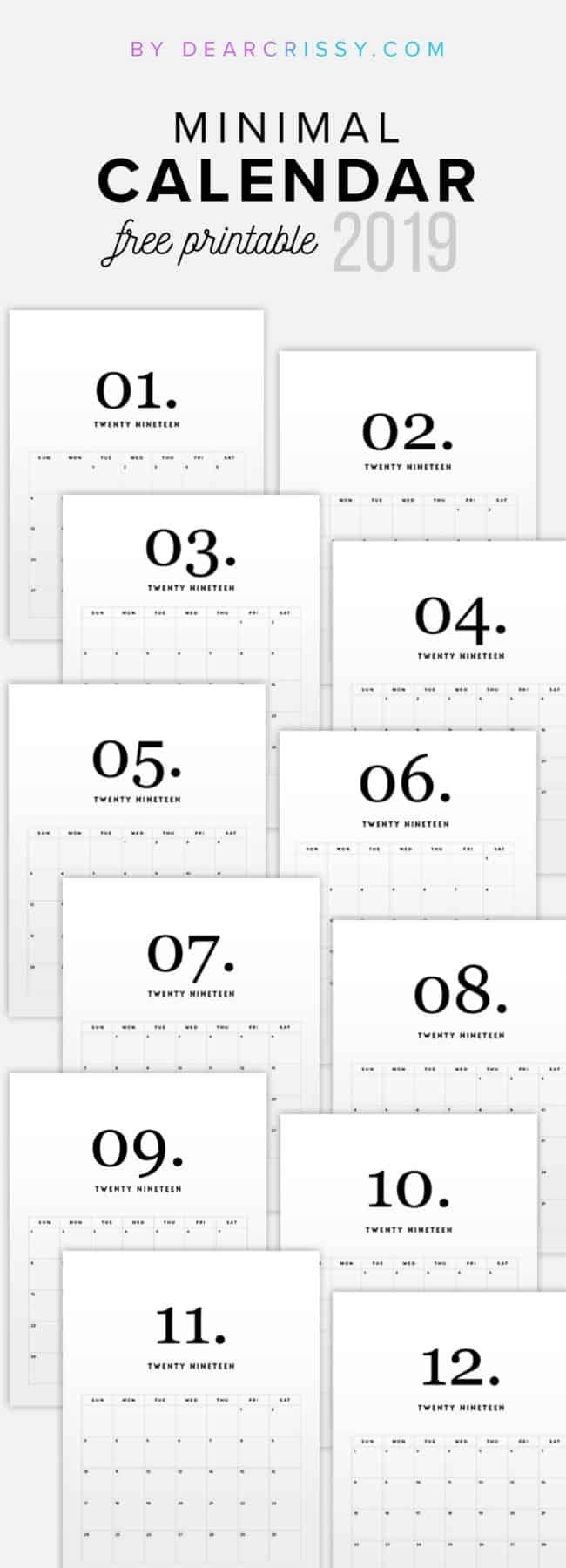2019 Free Printable Calendars Lolly Jane