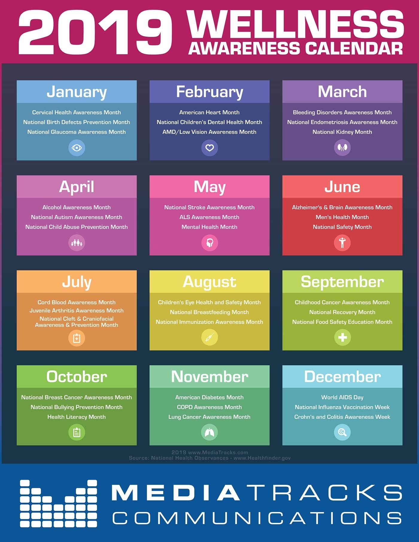 2019 Health & Wellness Awareness Calendar [infographic