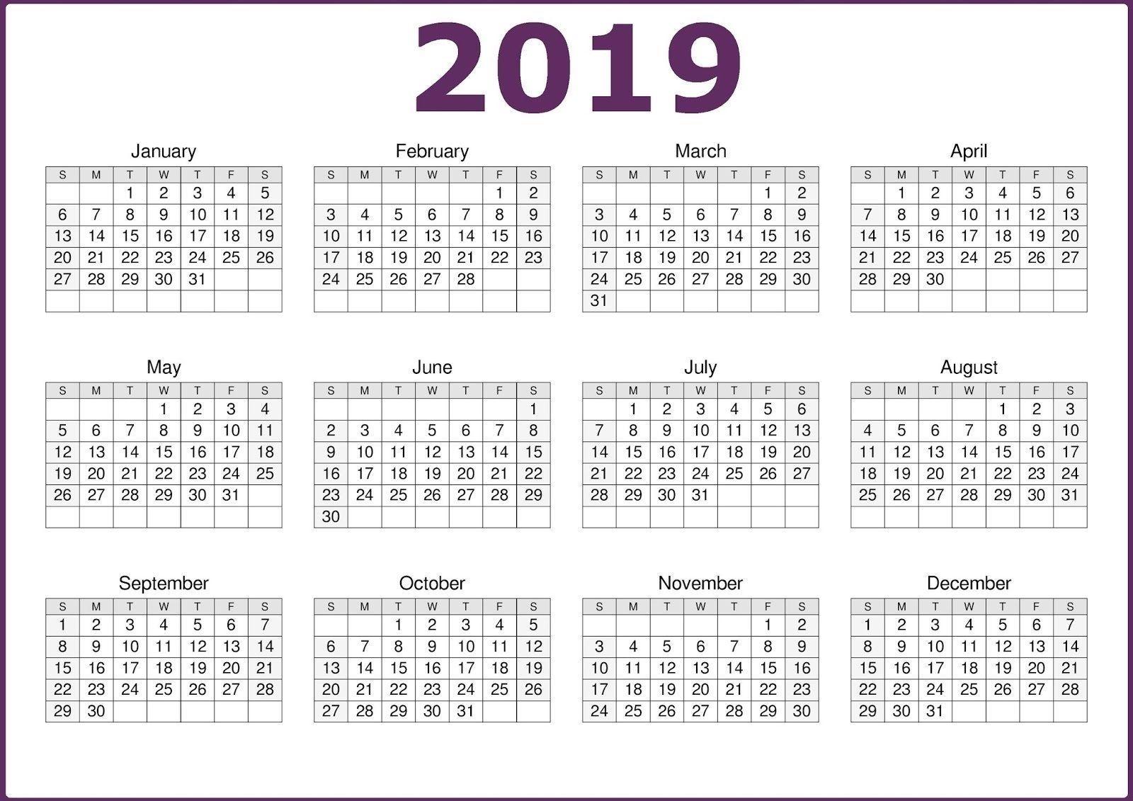 2019 One Page 12 Months Calendar | 2019 Calendars | Calendar