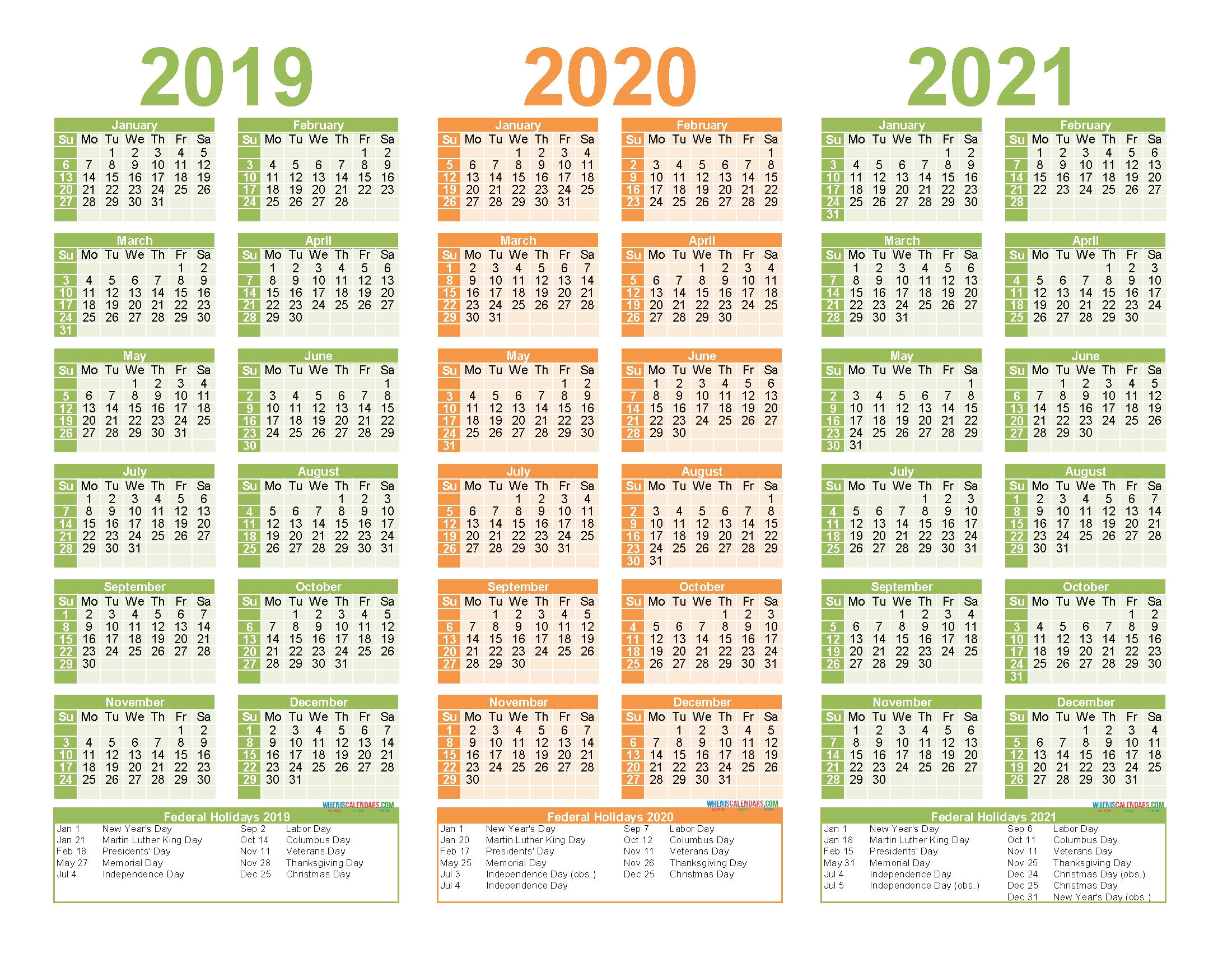 2019 to 2021 calendar printable free pdf, word, image – free
