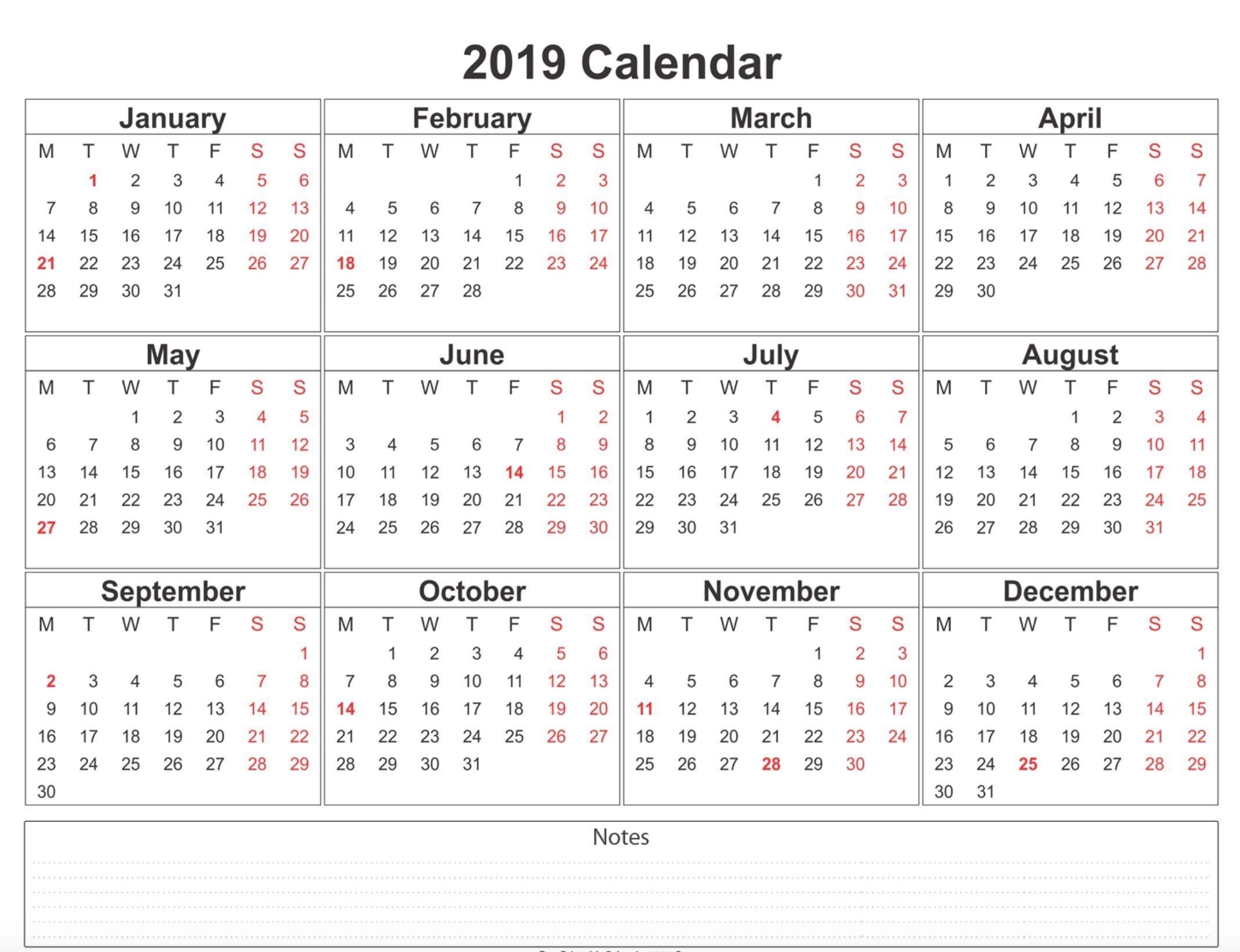 2019 weekly calendar printable | weekly calendar printable