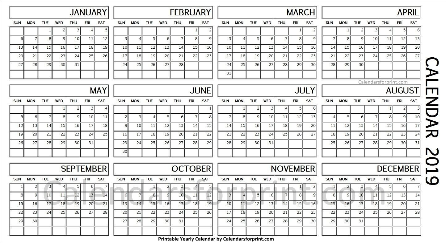 2019 Year Calendar On One Page | Calendar Printables, Yearly
