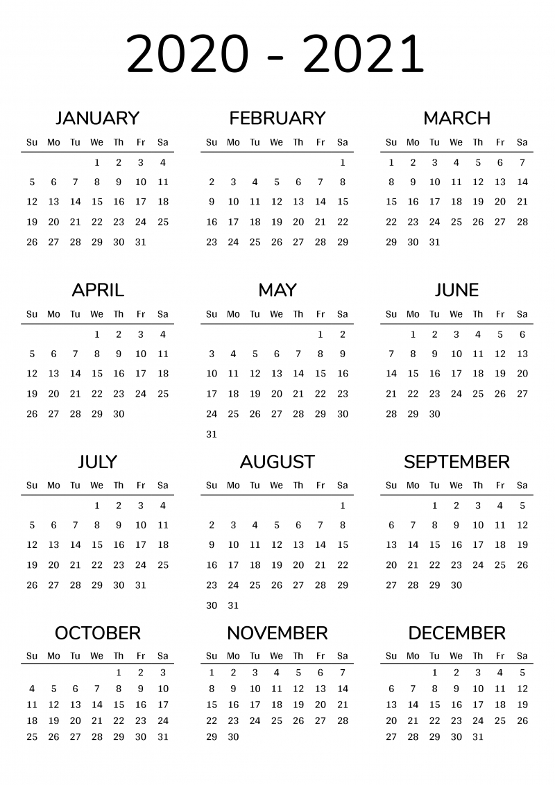 2020 2021 printable calendar for 2 years
