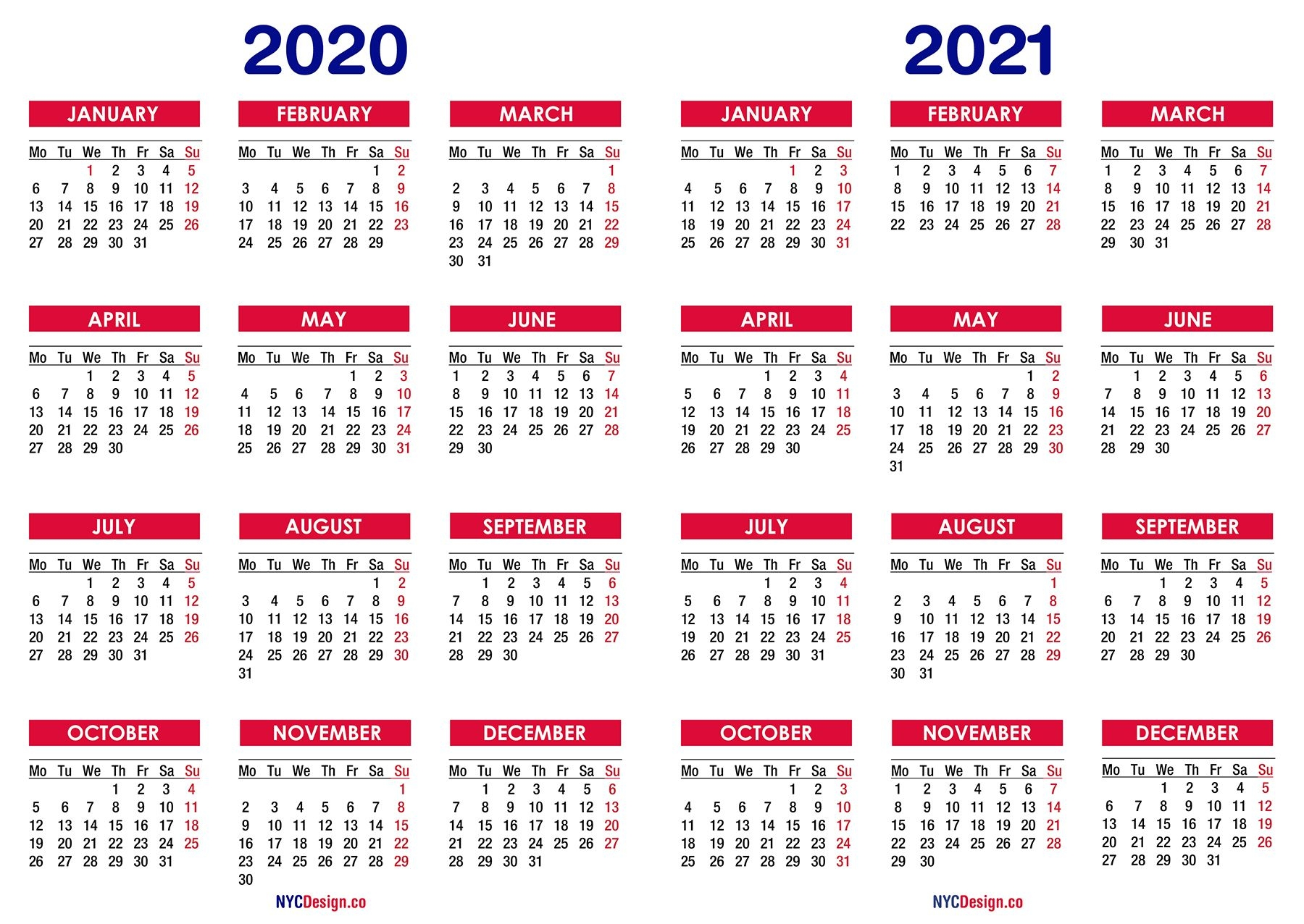 2020 – 2021 Two Year Calendar Printable Free – Nycdesign Co