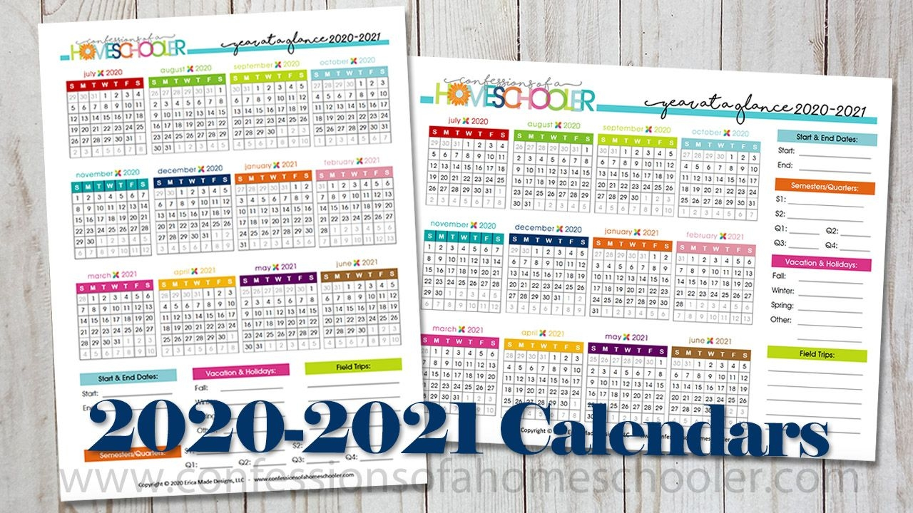 2020 2021 year at a glance printable calendars confessions