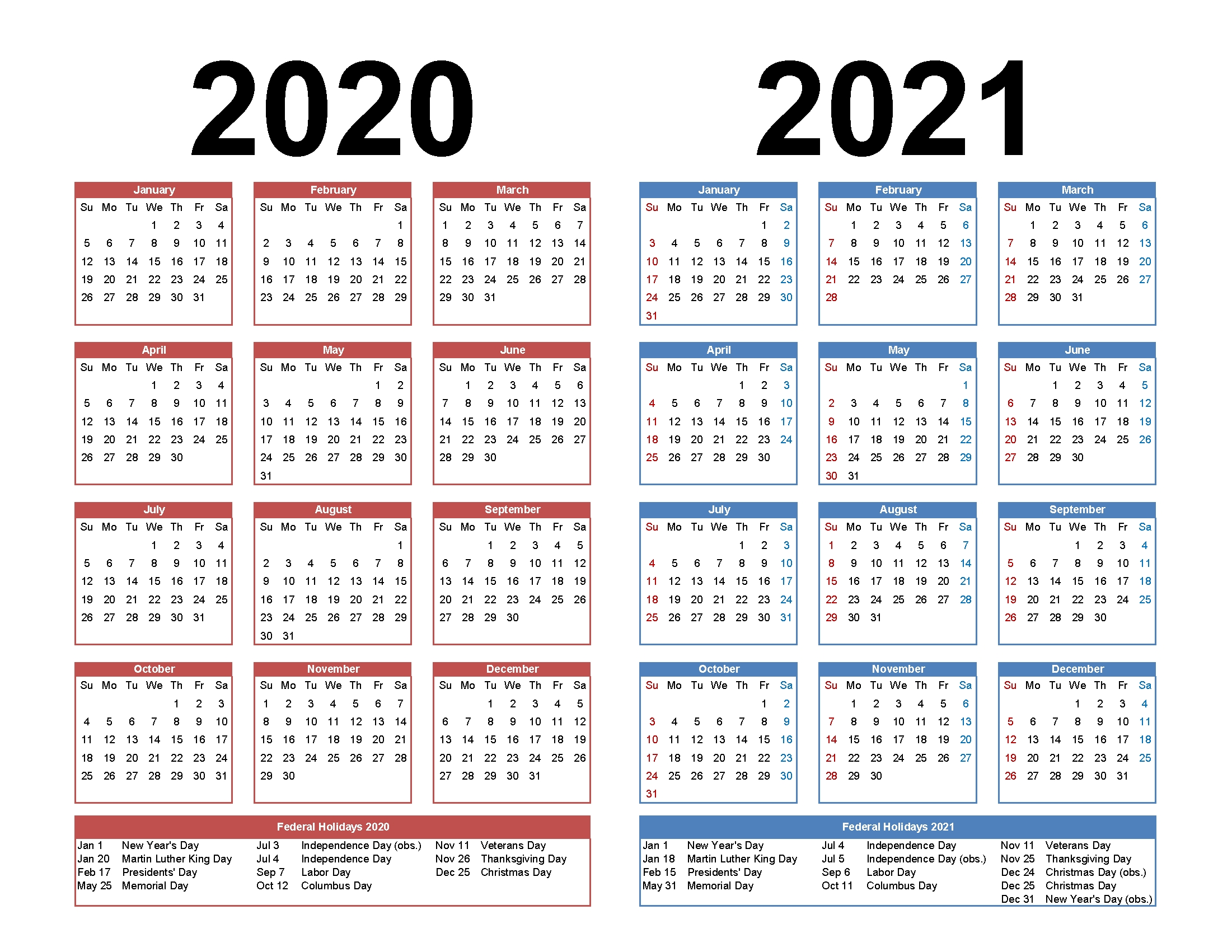 2020 and 2021 monthly calendar printable free download