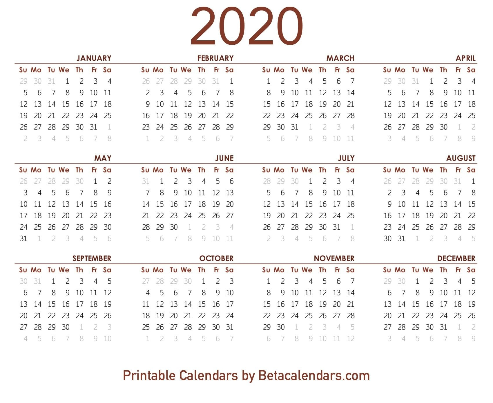 2020 calendar free printable yearly calendar 2020