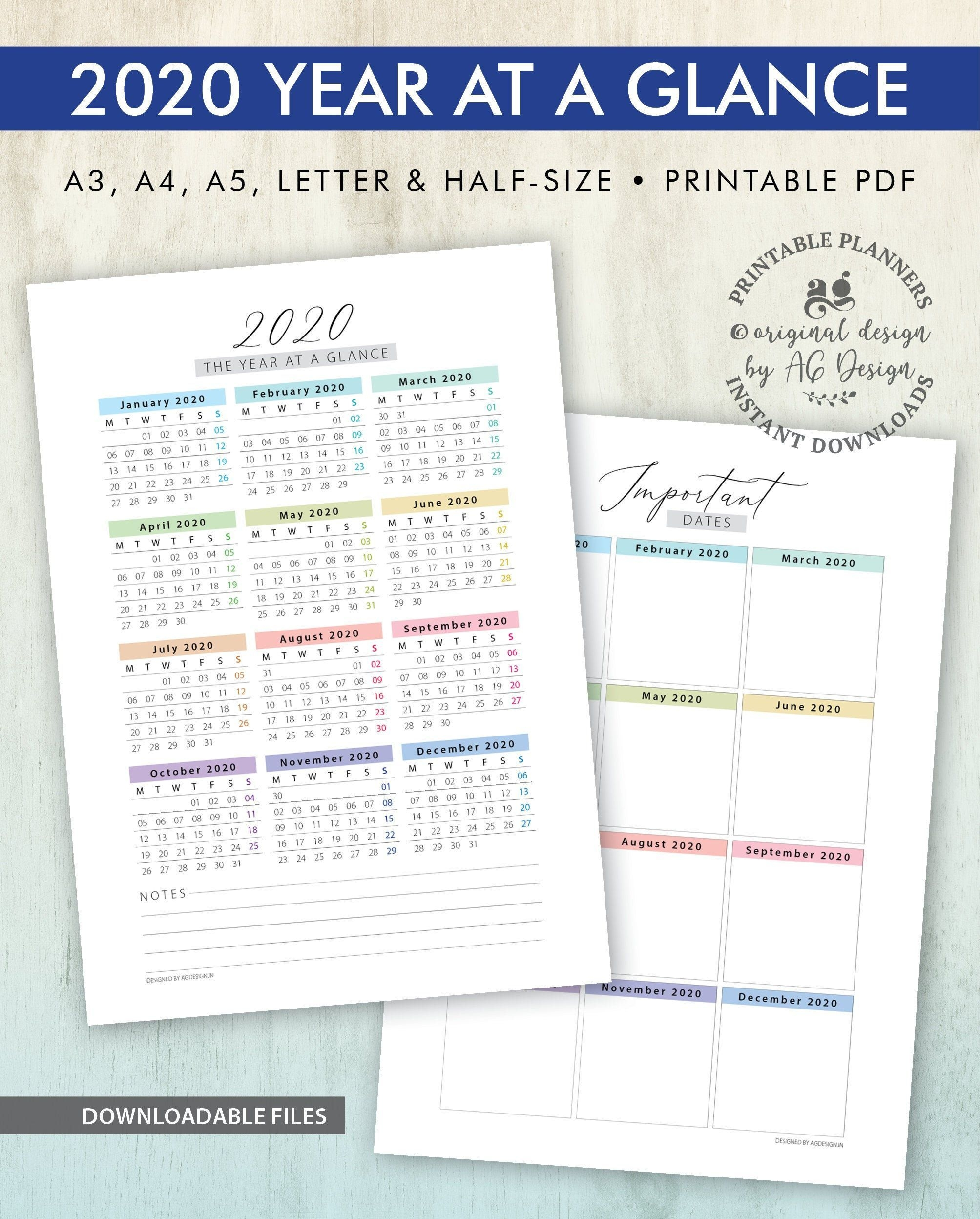 2020 calendar printables, year at a glance and dates, yearly