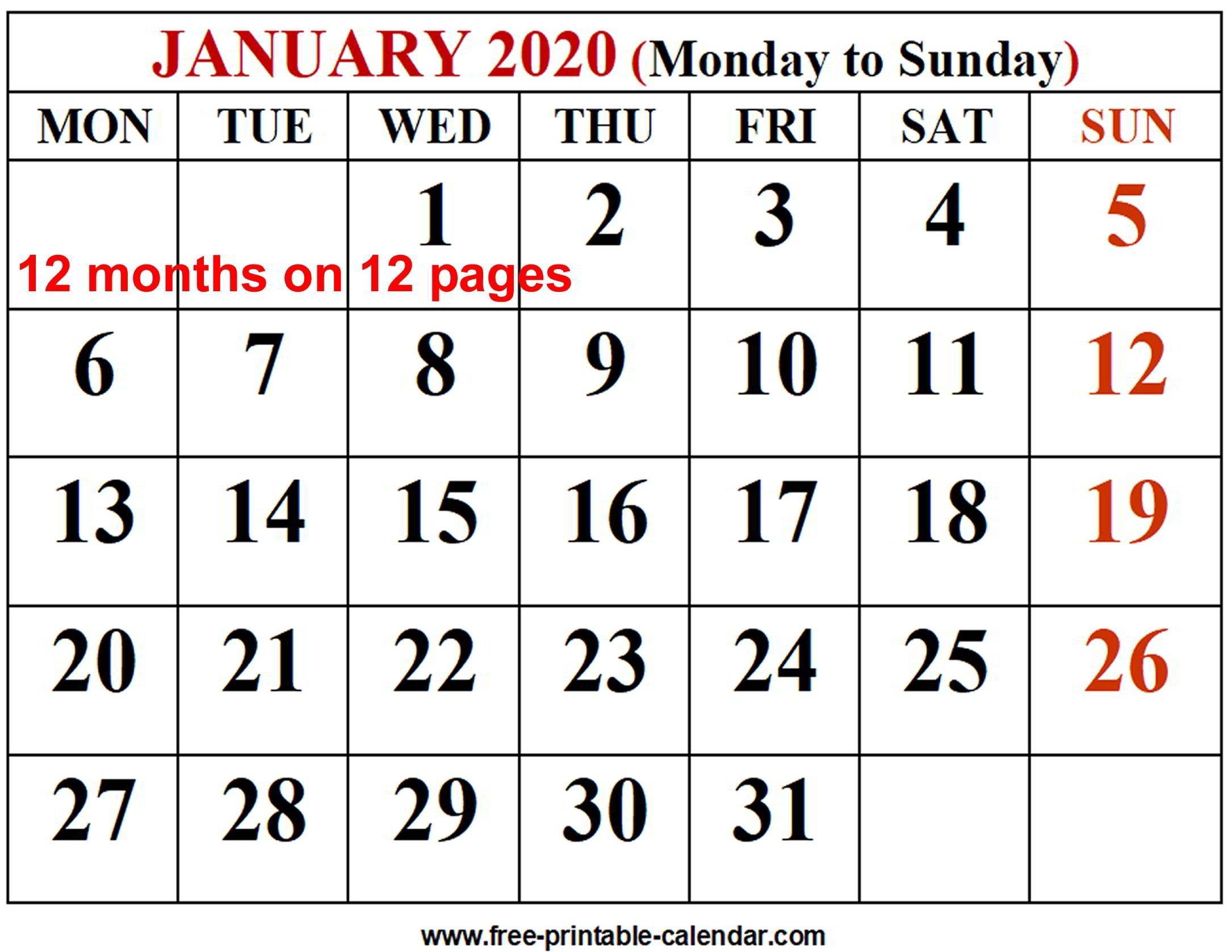 2020 calendar template free printable calendar